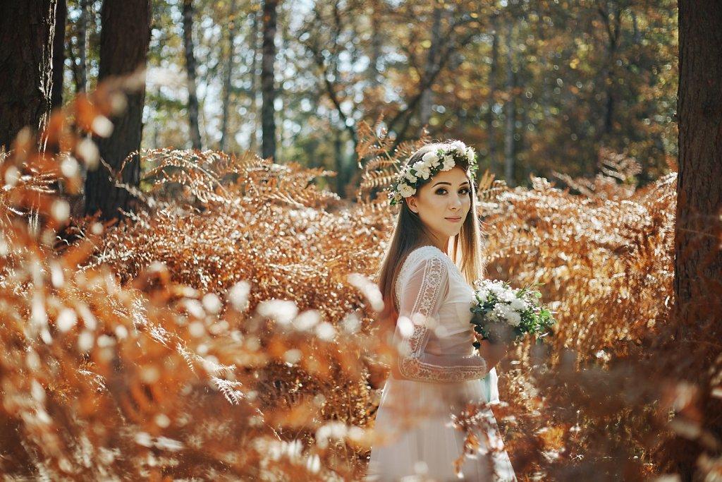 Ślubna fotografia - Jesienią w słońcu, w stylu boho